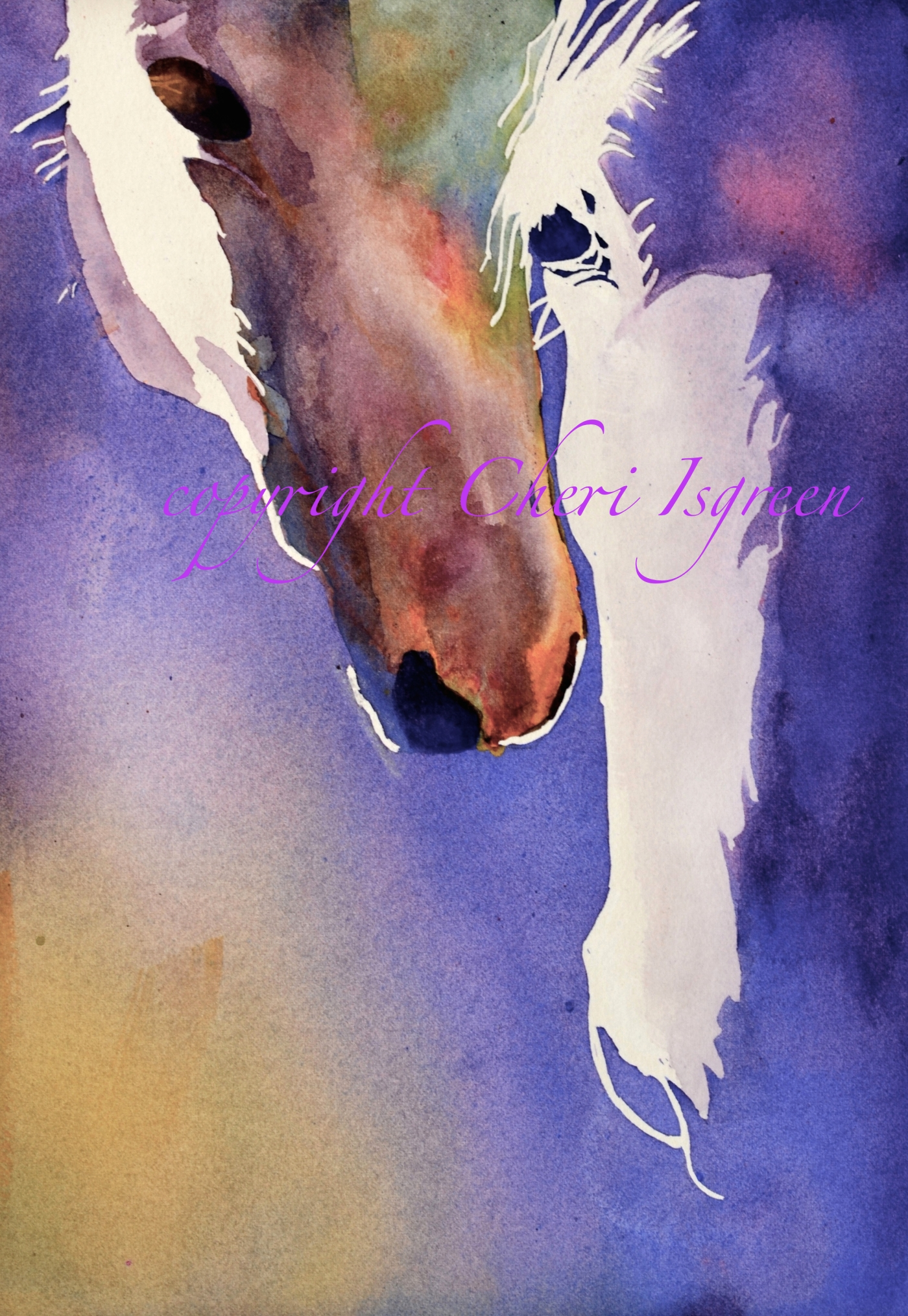 """""""Out of the Shadows""""  poured watercolor, copyright Cheri Isgreen"""