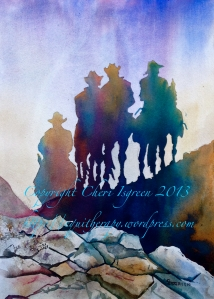 """Riding for Rain""  poured watercolor,  copyright Cheri Isgreen"