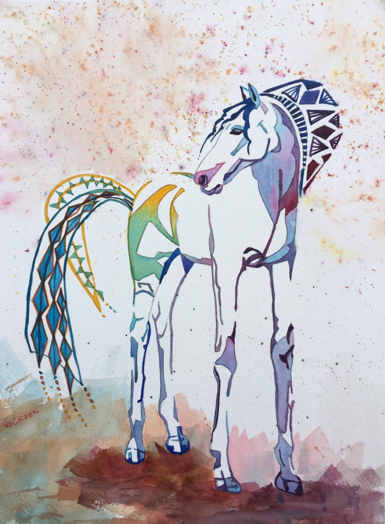 "Dream Horse #2 ""Walk Like an Egyptian""  14""x10""  $350"