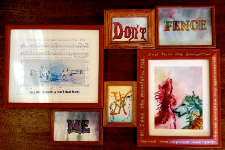 """""""Don't Fence Me In"""" silent auction mixed media to benefit Colorado's Wild Horses"""