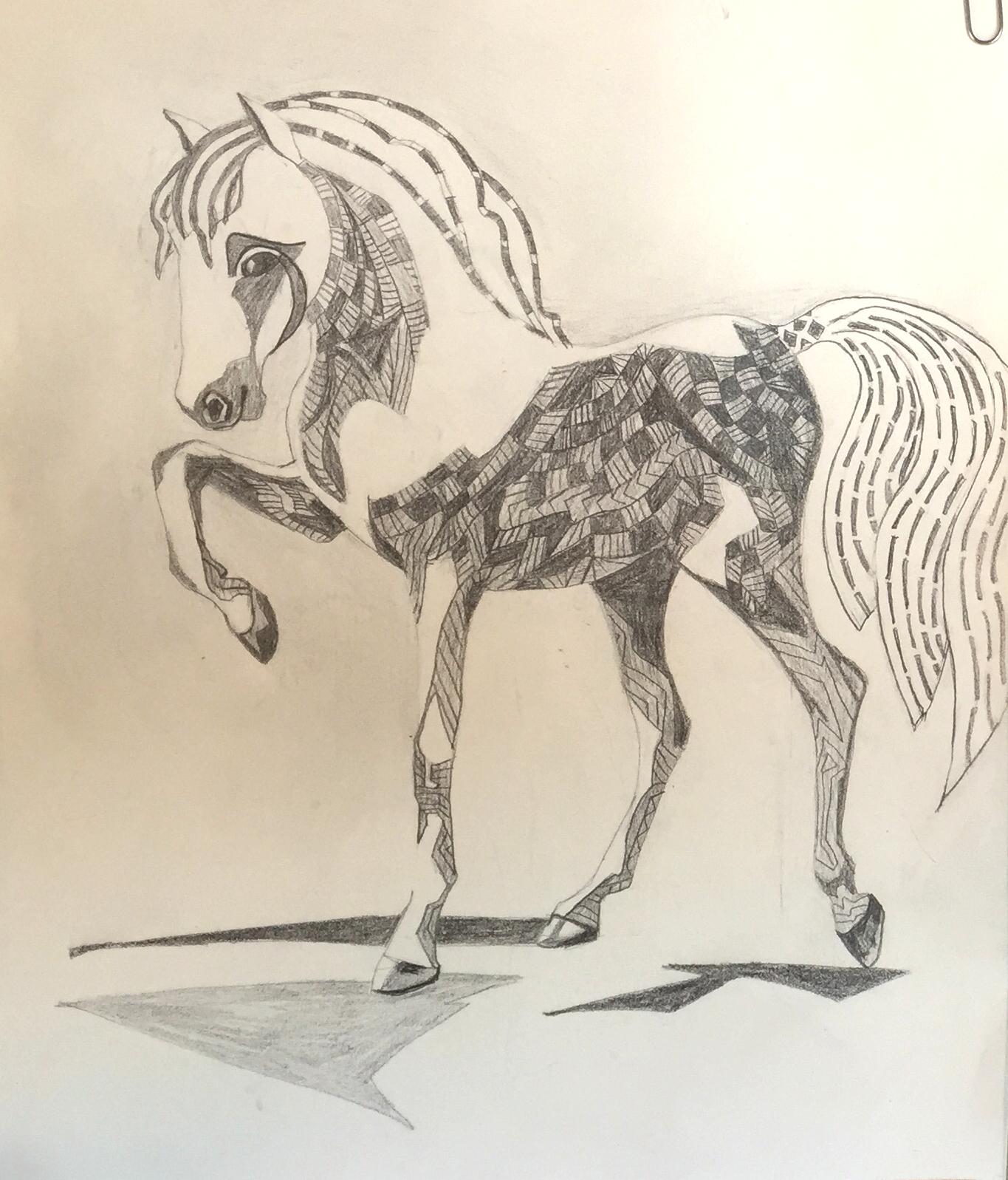 "pencil study ""Carousel"" copyright Cheri Isgreen 2015"