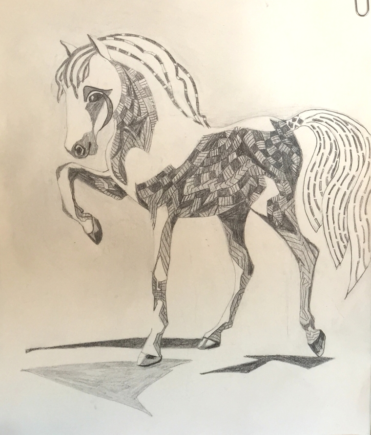 "pencil study ""Carousel"" copyright Cheri Isgreen 2015"