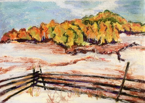 """View from Dallas, #1; pastel, framed size 12"""" X 15"""" $125; copyright Cheri Isgreen 2015"""