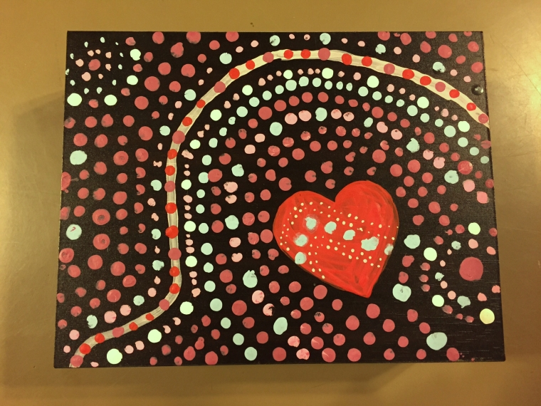 Acrylic on enamel wooden box in the style of Australian Aboriginal paintings