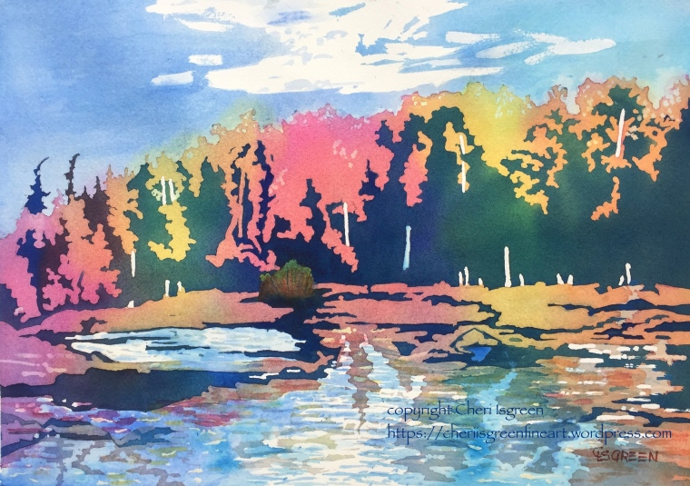 """Glow Along the Buckhorn Shore""  watercolor, framed size 16"" X 20""  $350; copyright Cheri Isgreen, 2015"