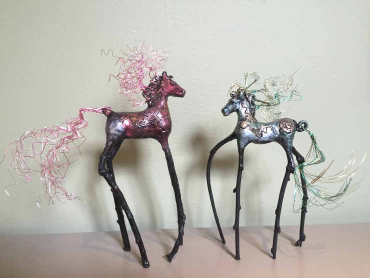 The Wind Horses, wire treatment to complement each horse; copyright Cheri Isgreen 2015