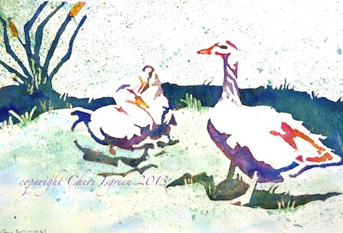 """3 Gossips""  watercolor copyright C Isgreen framed size 15"" X 12"""