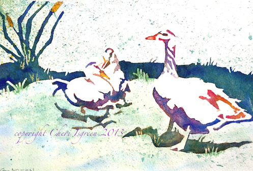 """3 Gossips""  watercolor copyright C Isgreen framed size 15"" X 12"""