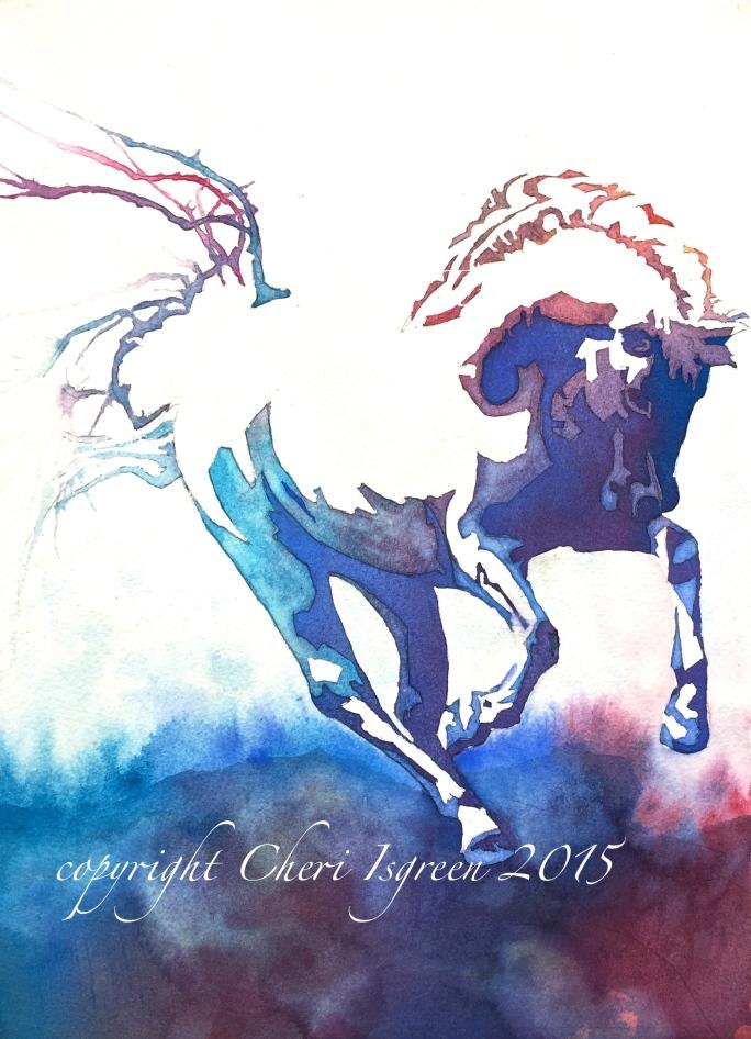 """Conversano Mima"" watercolor, copyright Cheri Isgreen, framed size 20"" X 16"" $350"