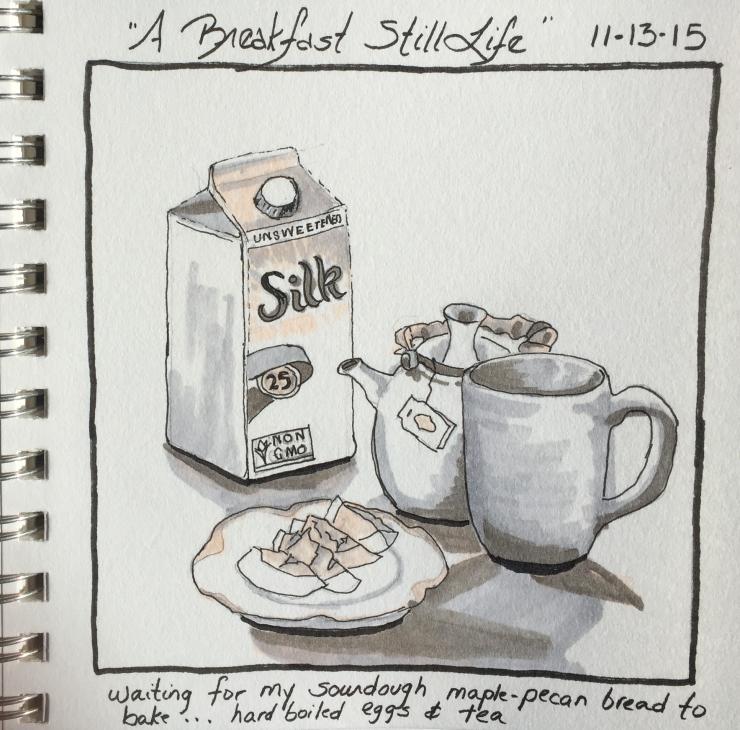 """Breakfast Still Life""  copyright Cheri Isgreen pen on paper  6"" x 6"""