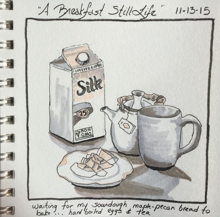 """Breakfast Still Life""  copyright Cheri Isgreen pen on paper  6"" x 6"""