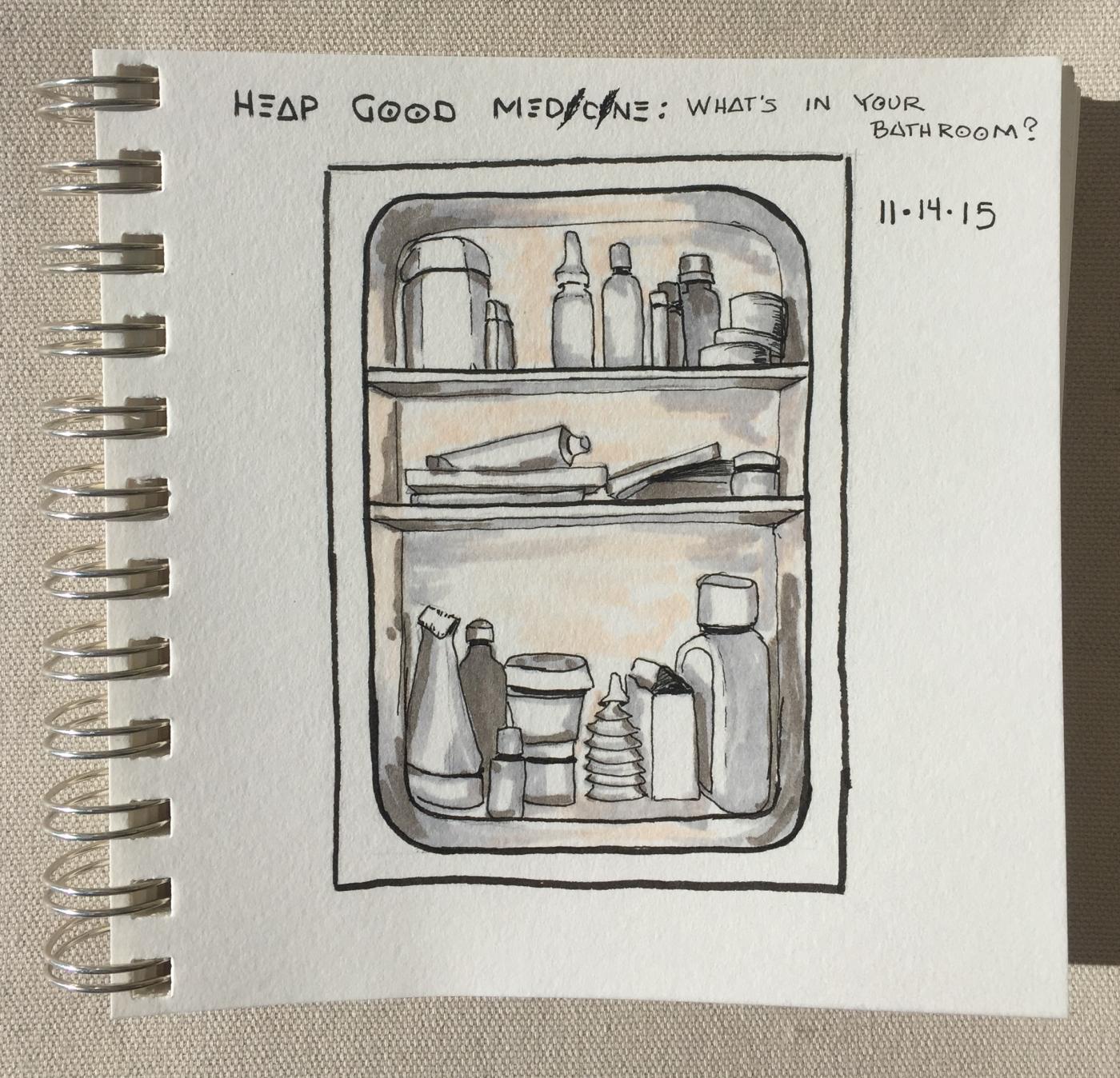 """Heap Big Medicine""  copyright C Isgreen 2015; 6"" x 6"" ink on paper"