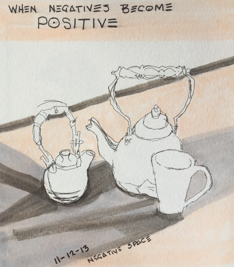 """When Negatives Become Positive""  copyright C Isgreen 2015, ink on paper 6"" x 6"""