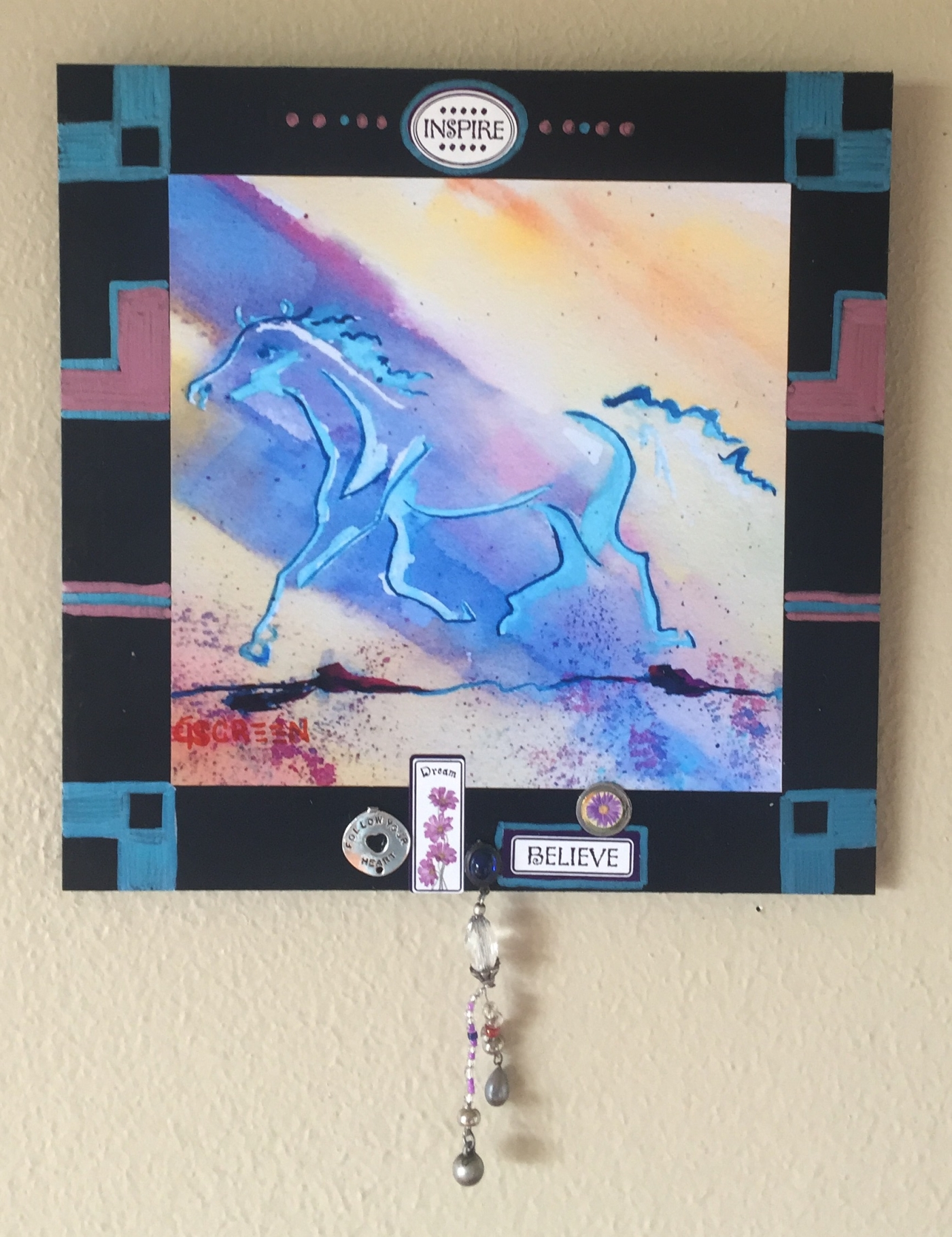 """""""WHEN HORSES FLY""""  copyright Cheri Isgreen, 2016                             mixed media collage on board: ink, paper, mixed metals & beads on board $40"""
