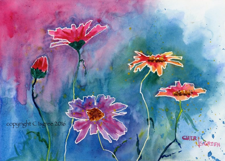 """""""Painted Daisies"""" framed watercolor 12"""" x 15"""" $200 copyright C Isgreen"""