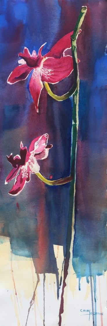 """Orchid's Glow"" 13"" x 27"" watercolor $350 Copyright C Isgreen"