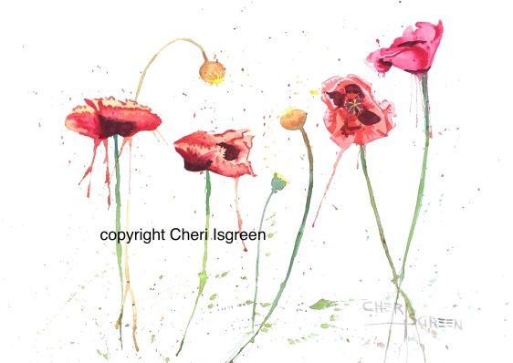 """A Splash of Poppies"" copyright Cheri Isgreen 20""x16"" $350"