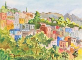 """Hillside Guanajuato"" 16""x20"" watercolor Copyright C Isgreen"