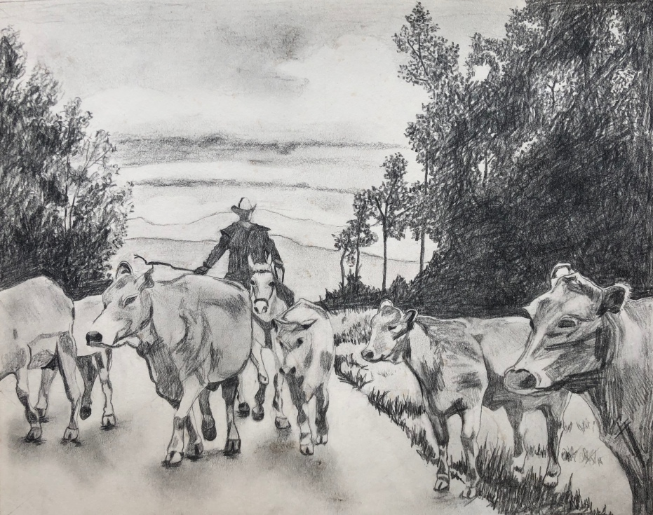 Headed for Home, graphite